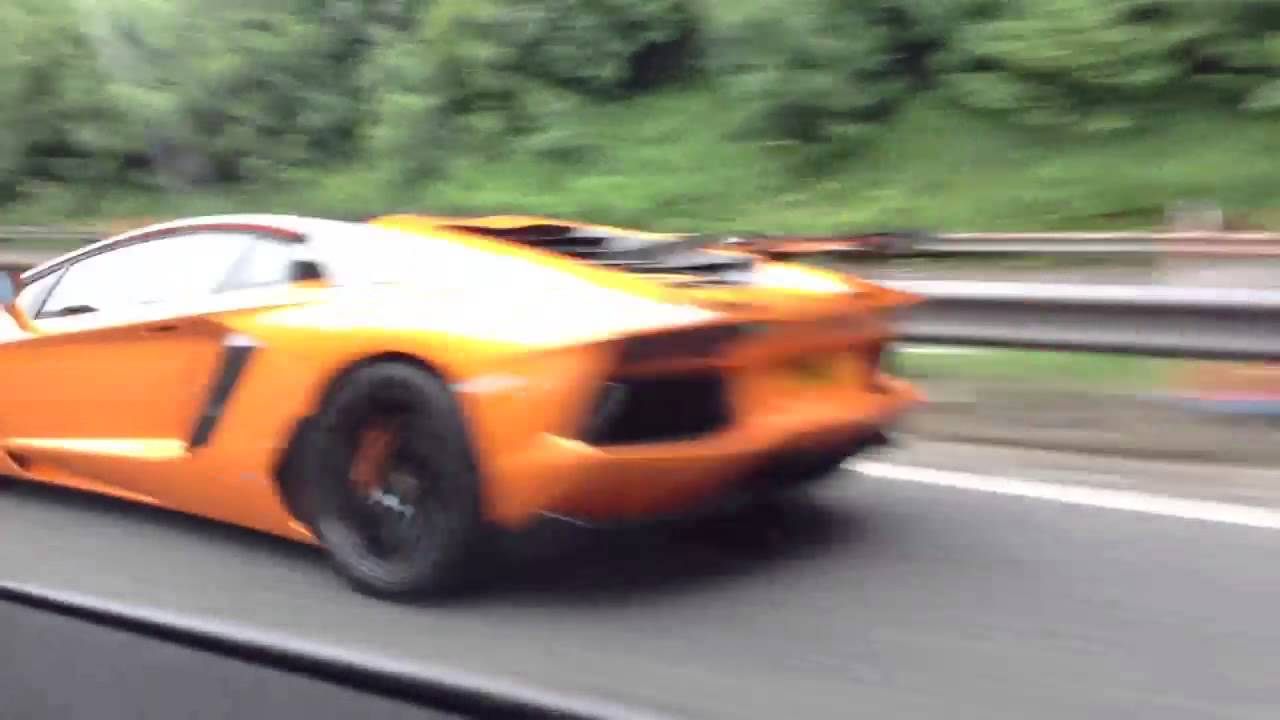lamborghini aventador orange going very fast - YouTube
