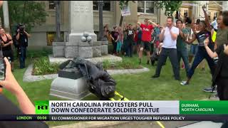 Protesters topple memorial statue honoring Confederate soldiers