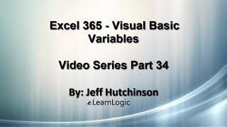 Excel 365 Visual Basic Part 34…