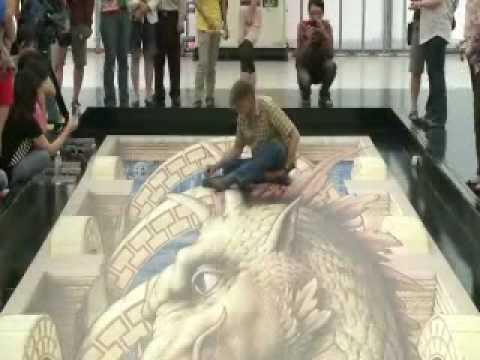 20100511高雄國際3D地景藝術展 - 義大利 Kurt Wenner 3D立體繪圖大師 國揚國硯01