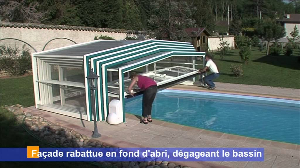 Sokool abri de piscine semi haut motoris youtube for Abri haut piscine