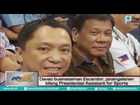 Davao businessman Escador, pinangalanan bilang Presidential Assistant for Sports