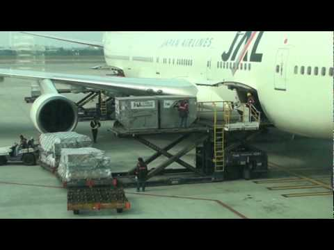 JAL Cargo moves freight quickly from tarmac onto Aircraft in Taipei Taiwan.