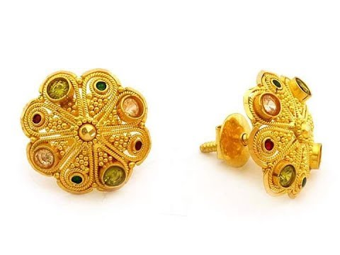 22k 24k Gold Ear Studs With Weight And Price Tops Design