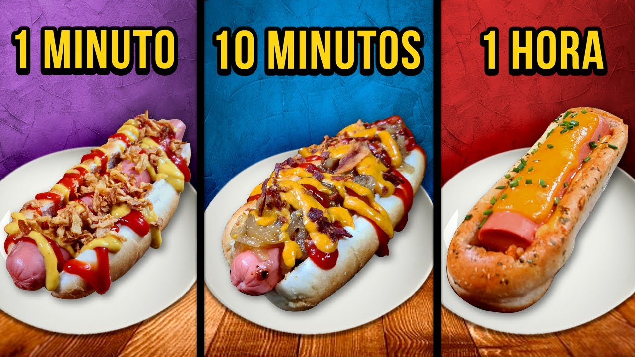 1 Min vs. 10 Min vs. 1 Hora Hot Dogs ¿Cuál eliges tu? 🌭