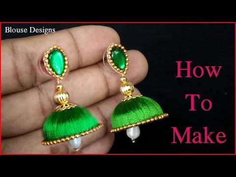 silk thread earrings making | jhumkas making tutorial at home | silk thread jewellery making | Diy