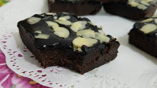 Quick No Bake Fudge Brownies/Eggless brownies with out Oven Recipe by kitchen with Fatima