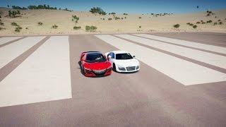 2017 Acura NSX vs Audi R8 V10 PLUS Drag Race! Forza Horizon 3