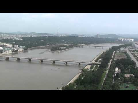 Grand view of Pyongyang from the top of the Juche tower (DPRK)