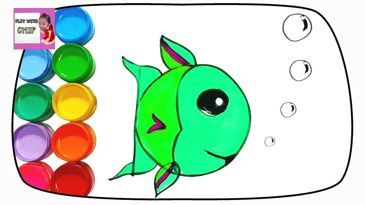 Cute Fish Drawing and Coloring for Kids - Learn Colors with Alphabet ...