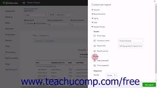 QuickBooks Online Plus 2017 Tutorial Customizing Header and Footer Report Settings Intuit Training