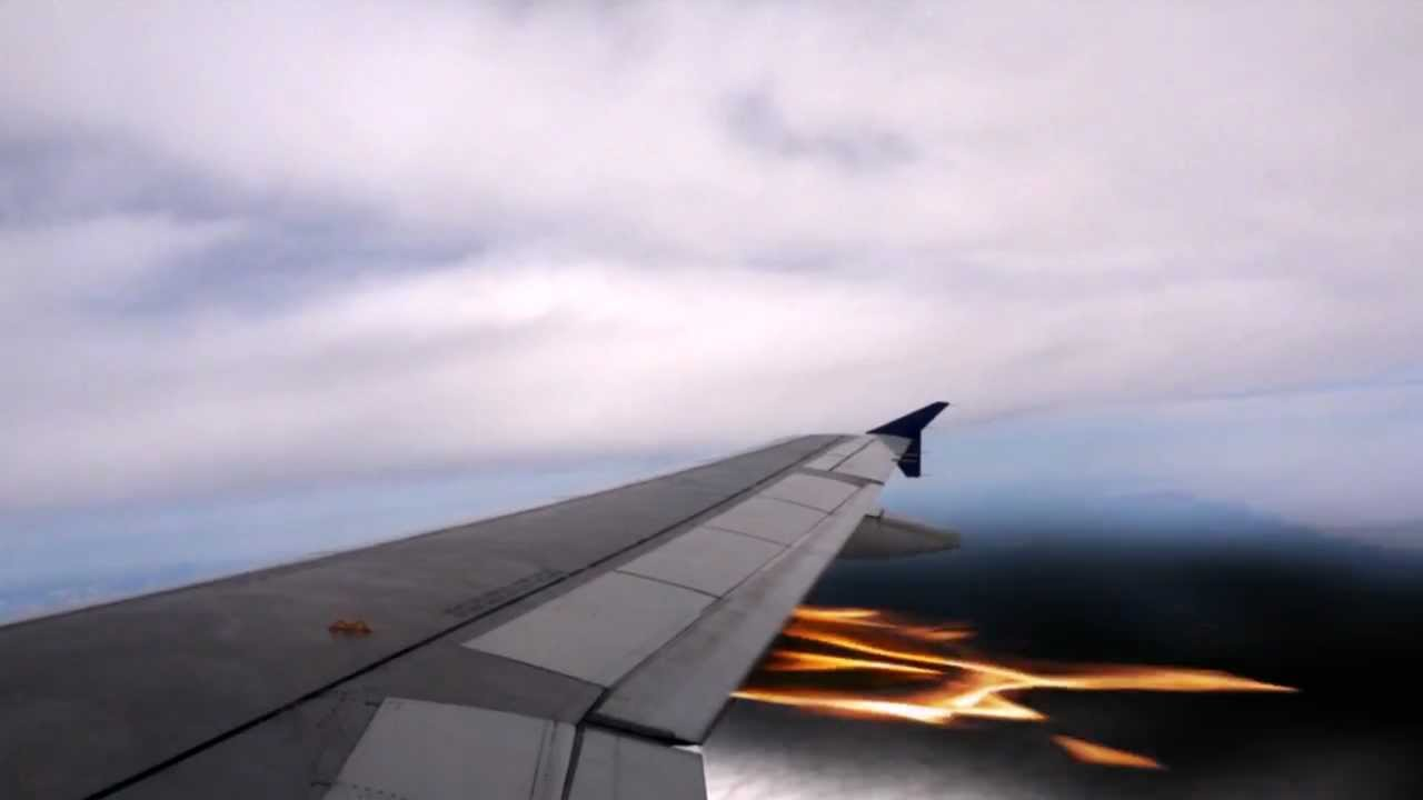 Plane Wing Catches Fire