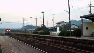DE10+マヤ34+DE10 唐津線・東多久駅 警笛あり