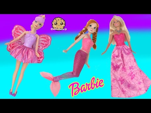 Disney Frozen Queen Elsa + Princess Anna Mermaid Fairy Princess Dress UP With Barbie Doll
