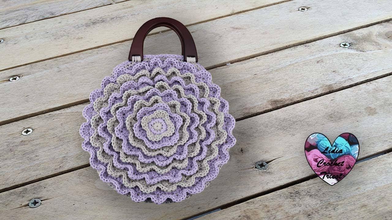 sac p u00e9tales de fleur rond  u0026quot lidia crochet tricot u0026quot