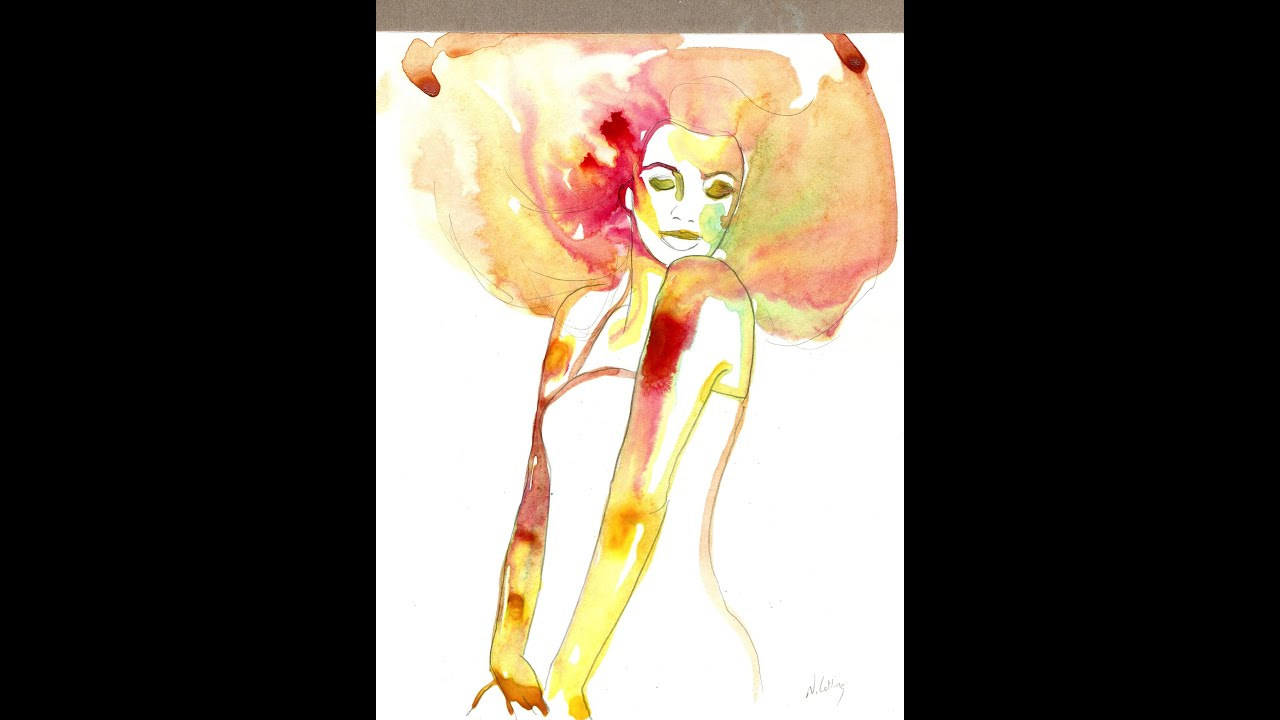 Woman ink watercolor painting flowing hair easy technique ...