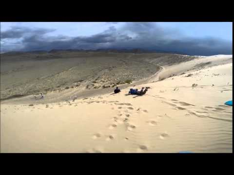 Dune sledding in Mongolia