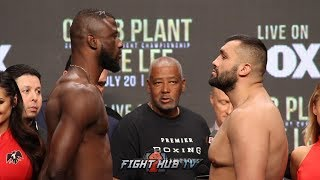 THE FULL EFE AJAGBA VS ALI EREN DEMIREZEN WEIGH IN AND FACE OFF