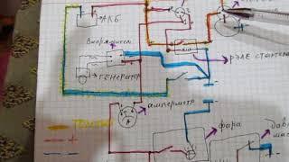 электрическая схема проводки тяжёлого китайского мотоблока (дизель)
