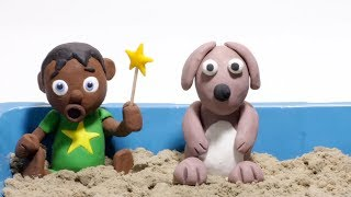 Baby superhero playing sand 💕 clay Stop motion cartoons