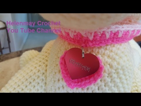Crochet Quick and Easy Beginner Spiked Dog Collar with Heart Charm DIY Video Tutorial