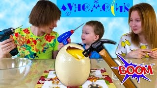 Челлендж Разбиваем страусиное яйцо  Сверлим, бьем молотком  Готовим яйцо страуса – жарим, запекаем
