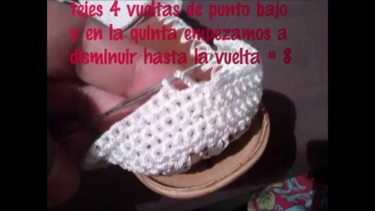 sandalias tejidas a crochet con suela para adulto paso a paso \u0026quot; blanca \u0026quot;