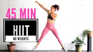 FULL BODY! 45 Mİn HIIT / No-weight MUSIC Workout // Cardio & Strength + Warm-up + Cool Down