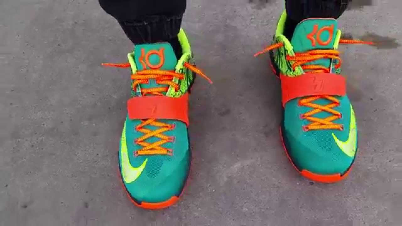 d746db48168f NIKE KD KEVIN DURANT VII 7 WEATHERMAN EMERALD GREEN ON FEET REVIEW ...