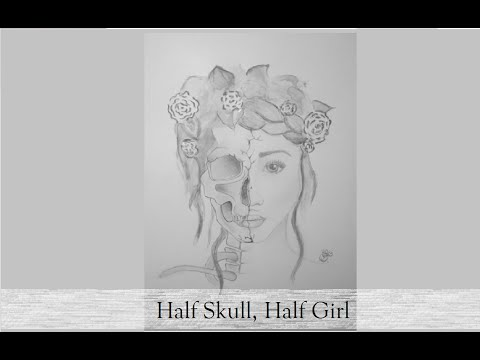 Speed drawing || Half Girl, Half Skull ♥ by BlueBerry Drawing