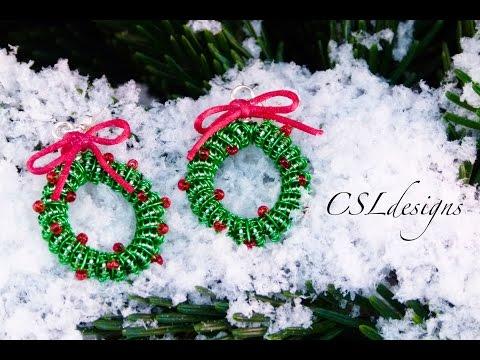 Wirework christmas wreath earrings   Christmas