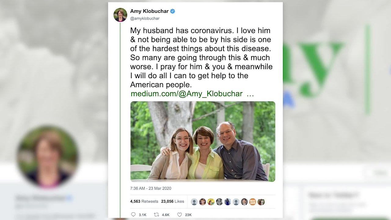 Sen. Amy Klobuchar says her husband has tested positive for ...
