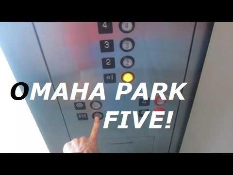 Montgomery KONE hydraulic elevator (front) at Omaha Park 5 garage, Omaha NE