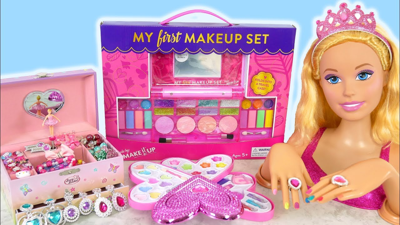 Giant Barbie Styling Doll Makeover Deluxe Makeup Cosmetic Set Kosmetik Mainan Barbie Cosmeticos