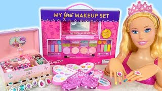 Giant Barbie Styling Doll Makeover! Deluxe Makeup Cosmetic set Kosmetik Mainan Barbie Cosméticos