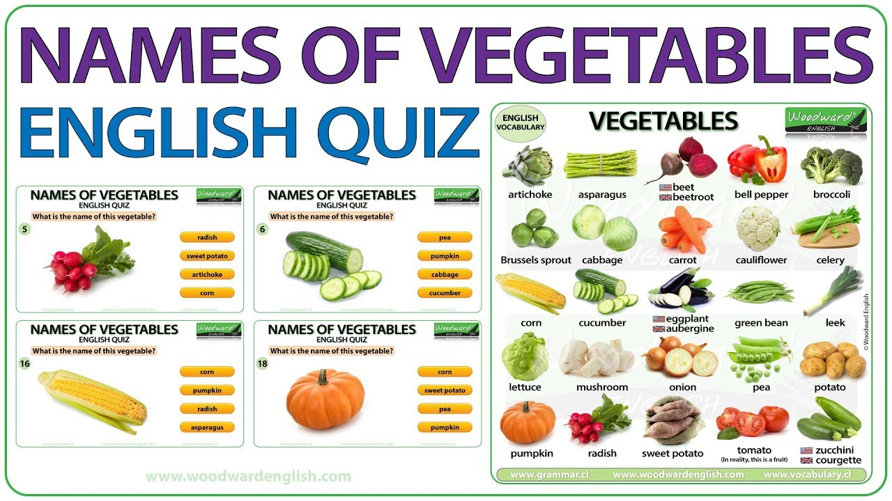 Names Of Vegetables In English Vocabulary Quiz