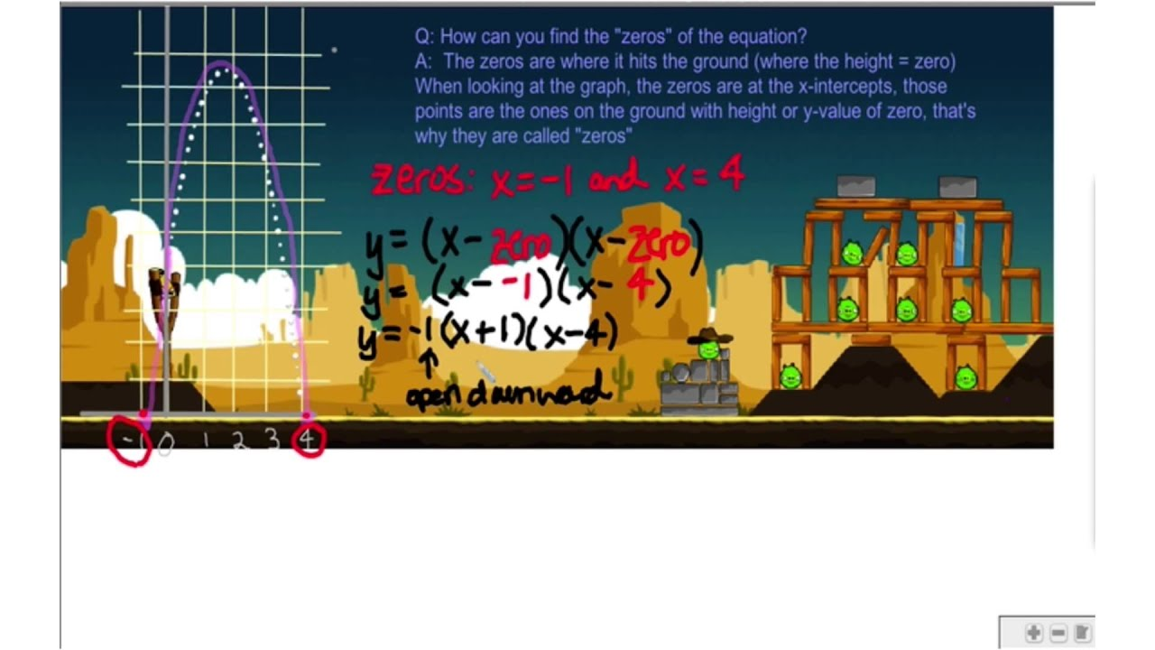 Angry Birds Find The Zeros Of A Quadratic By Kristan
