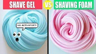Shave Gel Slime VS Shaving Foam Slime: How To Make Slime Without Activator !!!