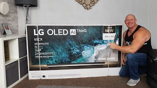 "2020 65"" LG CX OLED unboxing,wall mounting & demo !"
