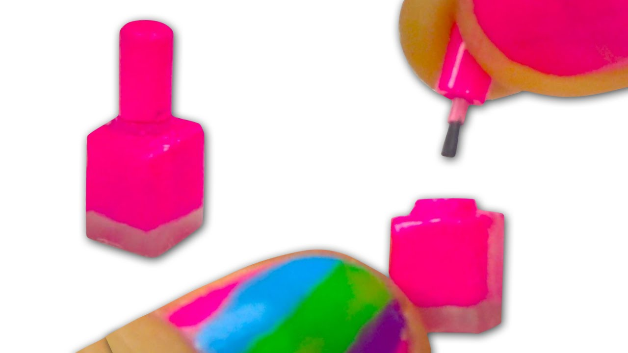 Miniature doll nail polish with real nail polish brush for Diy shoes with nail polish