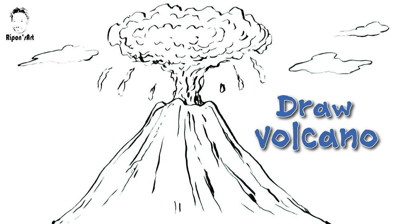 how to draw a volcano easy and step by step