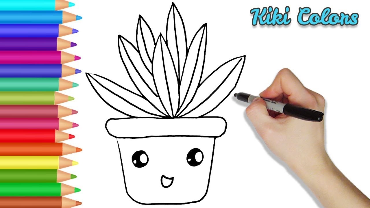 How to Draw a Cute Potted Plant Part 1 | Teach Drawing for ...