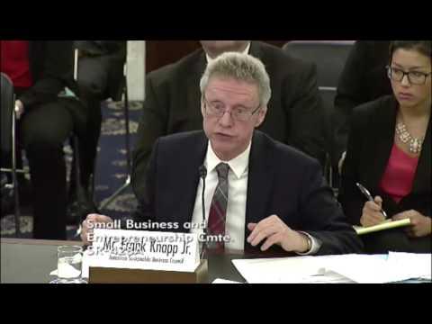 "Frank Knapp, U.S Senate Comm. on Small Business & Entrepreneurship - "" Regulations""  March 29, 2017"