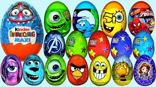Repeat youtube video 56 Surprise eggs, Kinder Surprise Maxi, Чебурашка яйцо, La casa Mickey Mouse Huevo Sorpresa