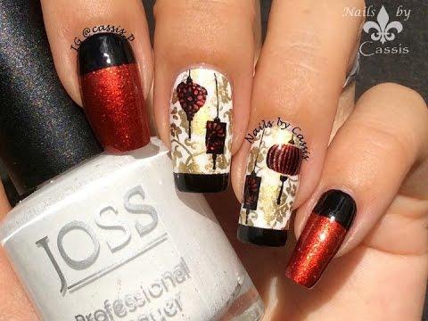 chinese lanterns stamping nail