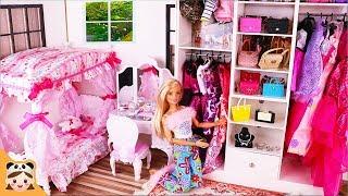 바비 공주방 새옷장 공개 ! 미미 인형놀이 드라마 아침일상 밀착중계 화장놀이 공주놀이 드레스 옷입히기 장난감 놀이 Barbie Room Morning Routine | 보라미TV