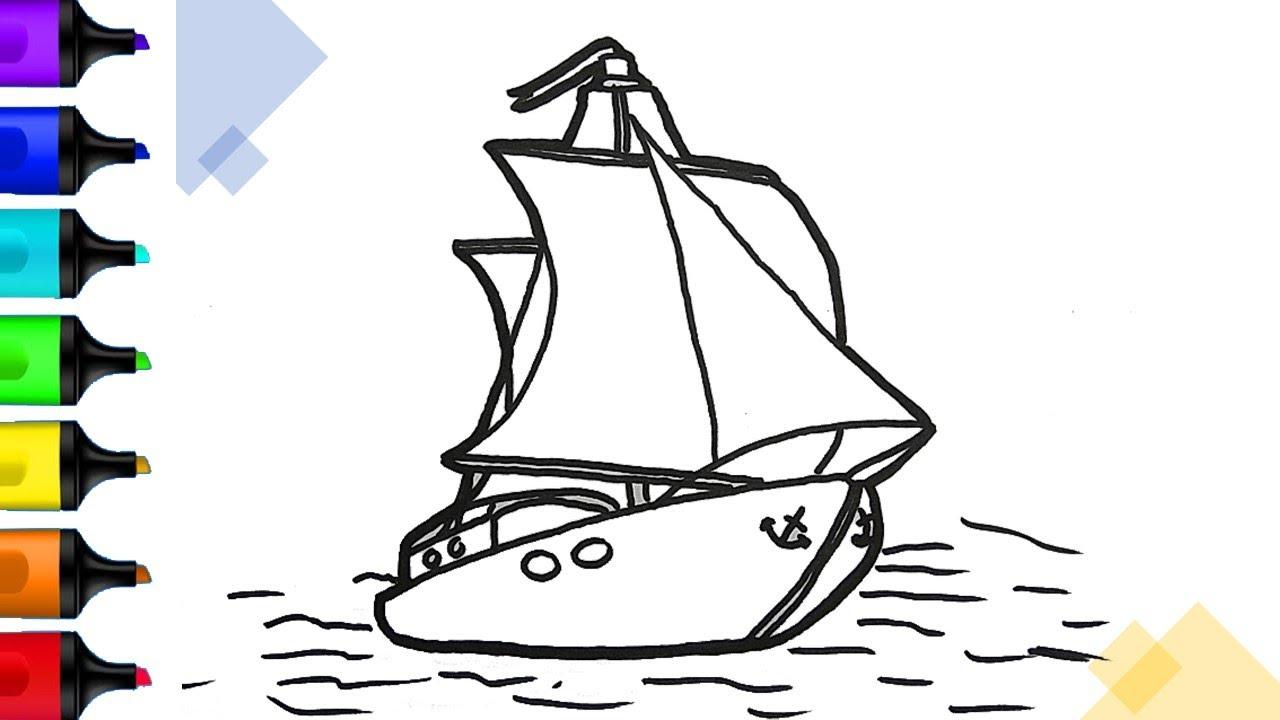 Cách vẽ thuyền buồm trên biển đơn giản   draw sailboat   Drawing Tutorials