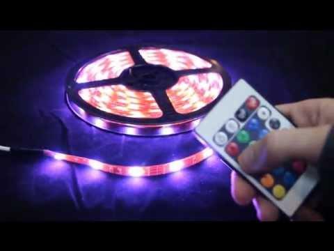 Tiras led multicolor control remoto secuencias youtube for Tiras led de colores