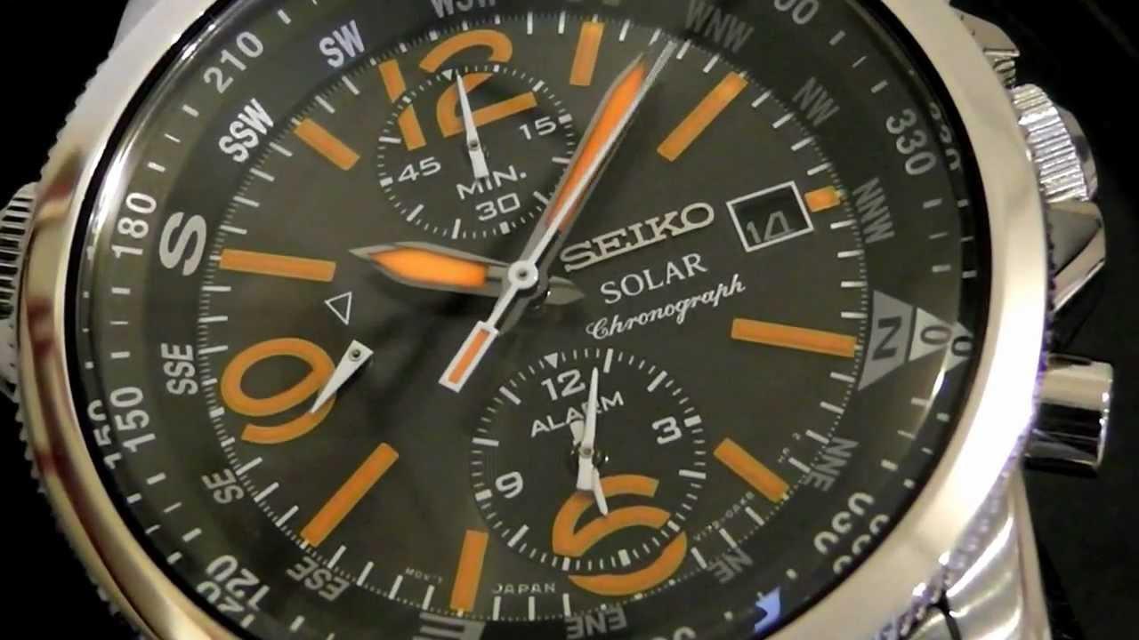 2S Time : Seiko Solar Chronograph SSC077P1 Orange Tone Hands
