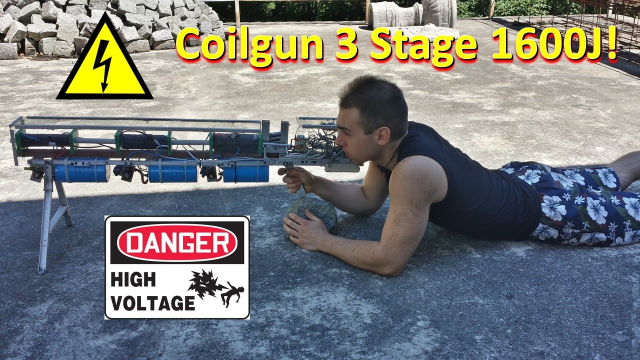 Coilgun 3 stage 1600J - Project Complete - YouTube